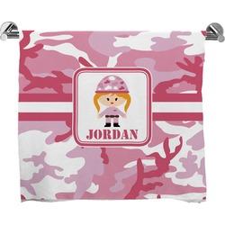 Pink Camo Full Print Bath Towel (Personalized)