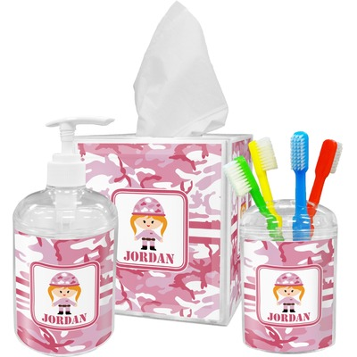 Pink Camo Bathroom Accessories Set (Personalized)