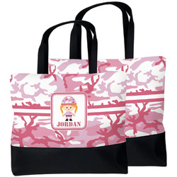 Pink Camo Beach Tote Bag (Personalized)