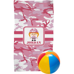 Pink Camo Beach Towel (Personalized)