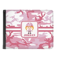 Pink Camo Genuine Leather Men's Bi-fold Wallet (Personalized)
