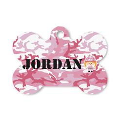 Pink Camo Bone Shaped Dog ID Tag (Personalized)