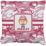 Pink Camo Faux-Linen Throw Pillow (Personalized)