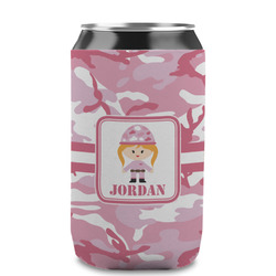 Pink Camo Can Sleeve (12 oz) (Personalized)