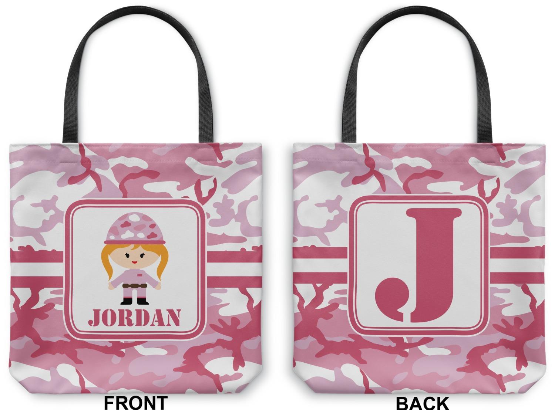 Pink Camo Canvas Tote Bag Medium 16 Quot X16 Quot Personalized
