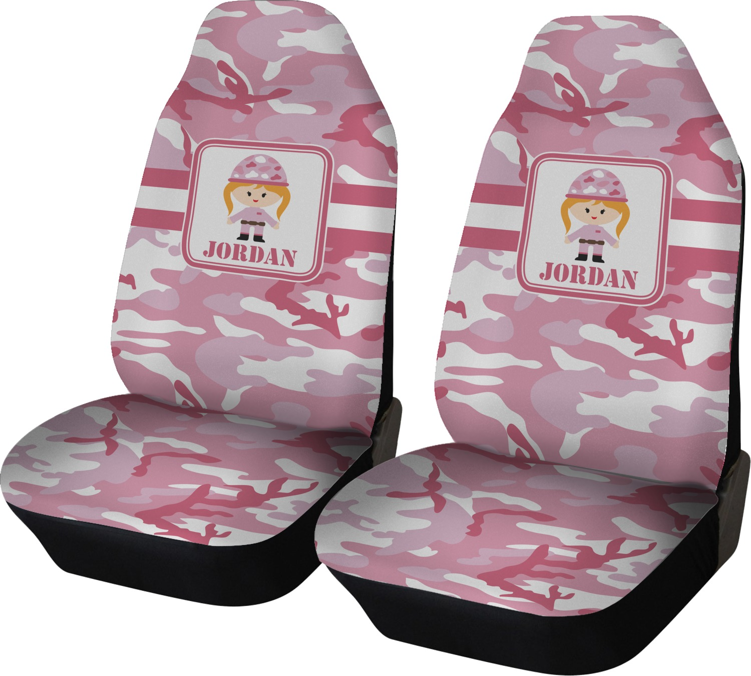 pink camo car seat covers set of two personalized youcustomizeit. Black Bedroom Furniture Sets. Home Design Ideas