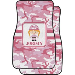 Pink Camo Car Floor Mats (Front Seat) (Personalized)