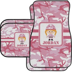 Pink Camo Car Floor Mats Set - 2 Front & 2 Back (Personalized)
