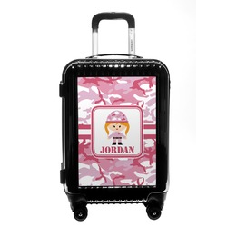 Pink Camo Carry On Hard Shell Suitcase (Personalized)