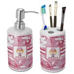 Pink Camo Bathroom Accessories Set (Ceramic) (Personalized)