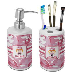 Pink Camo Bathroom Accessories Set (Ceramic) (Personalized)