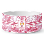 Pink Camo Ceramic Dog Bowl (Personalized)