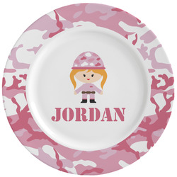 Pink Camo Ceramic Dinner Plates (Set of 4) (Personalized)