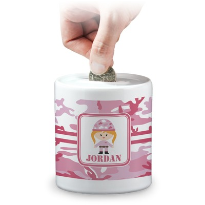 Pink Camo Coin Bank (Personalized)