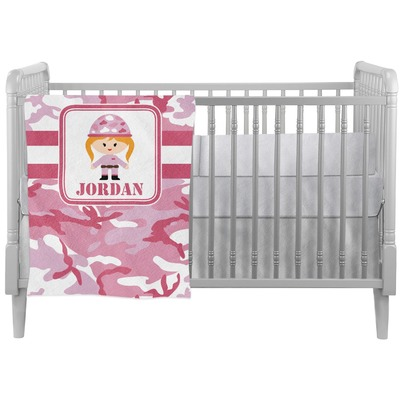 Pink Camo Crib Comforter / Quilt (Personalized)