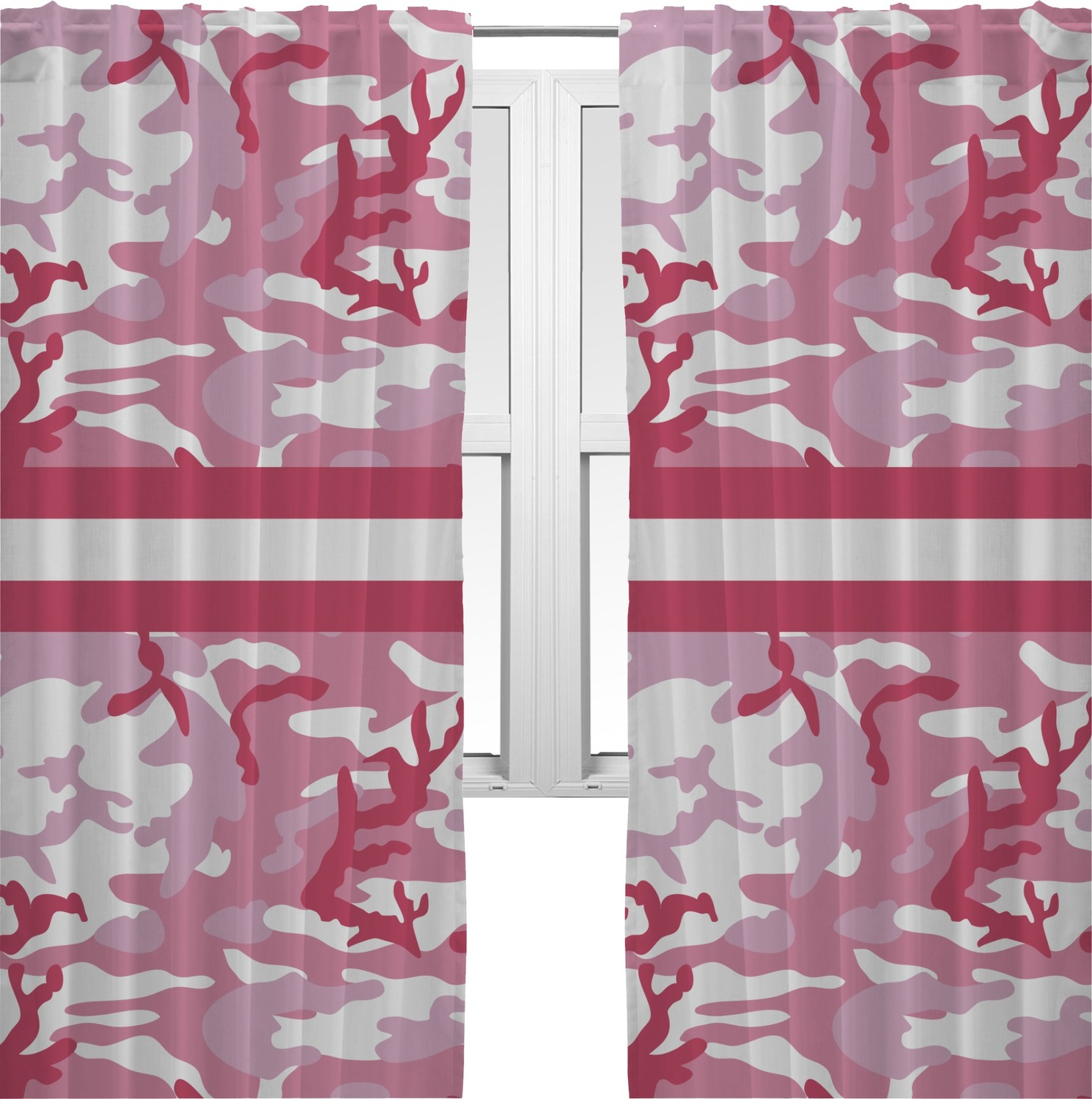 Pink Camo Curtains (2 Panels Per Set) (Personalized)