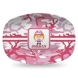 Pink Camo Plastic Platter - Microwave & Oven Safe Composite Polymer (Personalized)