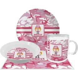 Pink Camo Dinner Set - 4 Pc (Personalized)