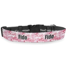 """Pink Camo Deluxe Dog Collar - Double Extra Large (20.5"""" to 35"""") (Personalized)"""