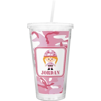 Pink Camo Double Wall Tumbler with Straw (Personalized)