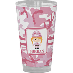 Pink Camo Drinking / Pint Glass (Personalized)