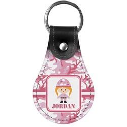 Pink Camo Genuine Leather  Keychain (Personalized)