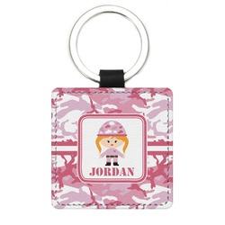 Pink Camo Genuine Leather Rectangular Keychain (Personalized)