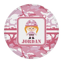 Pink Camo Round Desk Weight - Genuine Leather  (Personalized)
