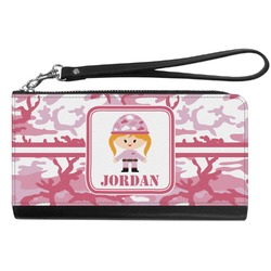 Pink Camo Genuine Leather Smartphone Wrist Wallet (Personalized)