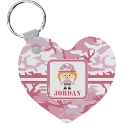 Pink Camo Heart Keychain (Personalized)