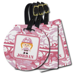 Pink Camo Plastic Luggage Tags (Personalized)