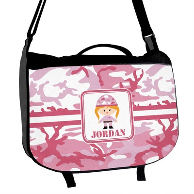 Front Personalized Pink Camo Hobo Purse w//Genuine Leather Trim