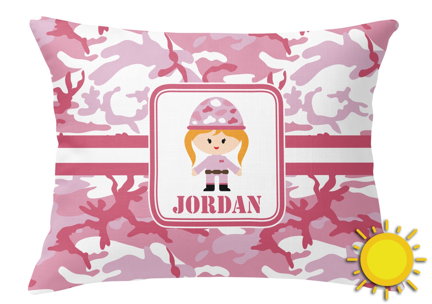 Pink Camo Outdoor Throw Pillow (Rectangular) (Personalized) - YouCustomizeIt