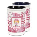 Pink Camo Ceramic Pencil Holder - Large