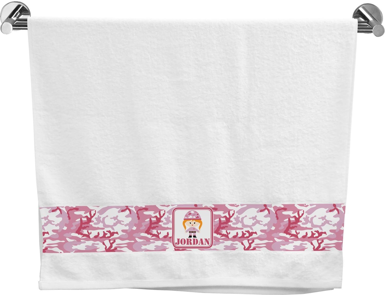 Pink Camo Bath Towel (Personalized) - YouCustomizeIt