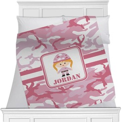 "Pink Camo Fleece Blanket - Twin / Full - 80""x60"" - Single Sided (Personalized)"