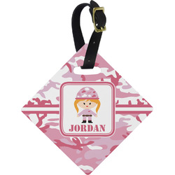 Pink Camo Diamond Luggage Tag (Personalized)