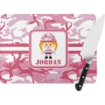 Pink Camo Rectangular Glass Cutting Board (Personalized)