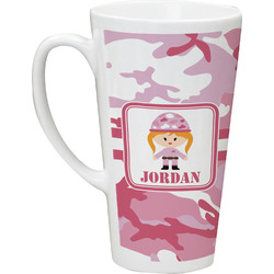 Pink Camo 16 Oz Latte Mug (Personalized)