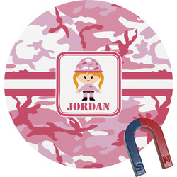 Pink Camo Round Fridge Magnet (Personalized)