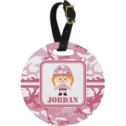 Pink Camo Round Luggage Tag (Personalized)