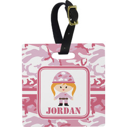 Pink Camo Square Luggage Tag (Personalized)
