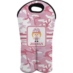 Pink Camo Wine Tote Bag (2 Bottles) (Personalized)