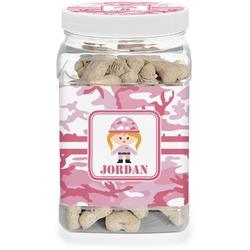 Pink Camo Dog Treat Jar (Personalized)