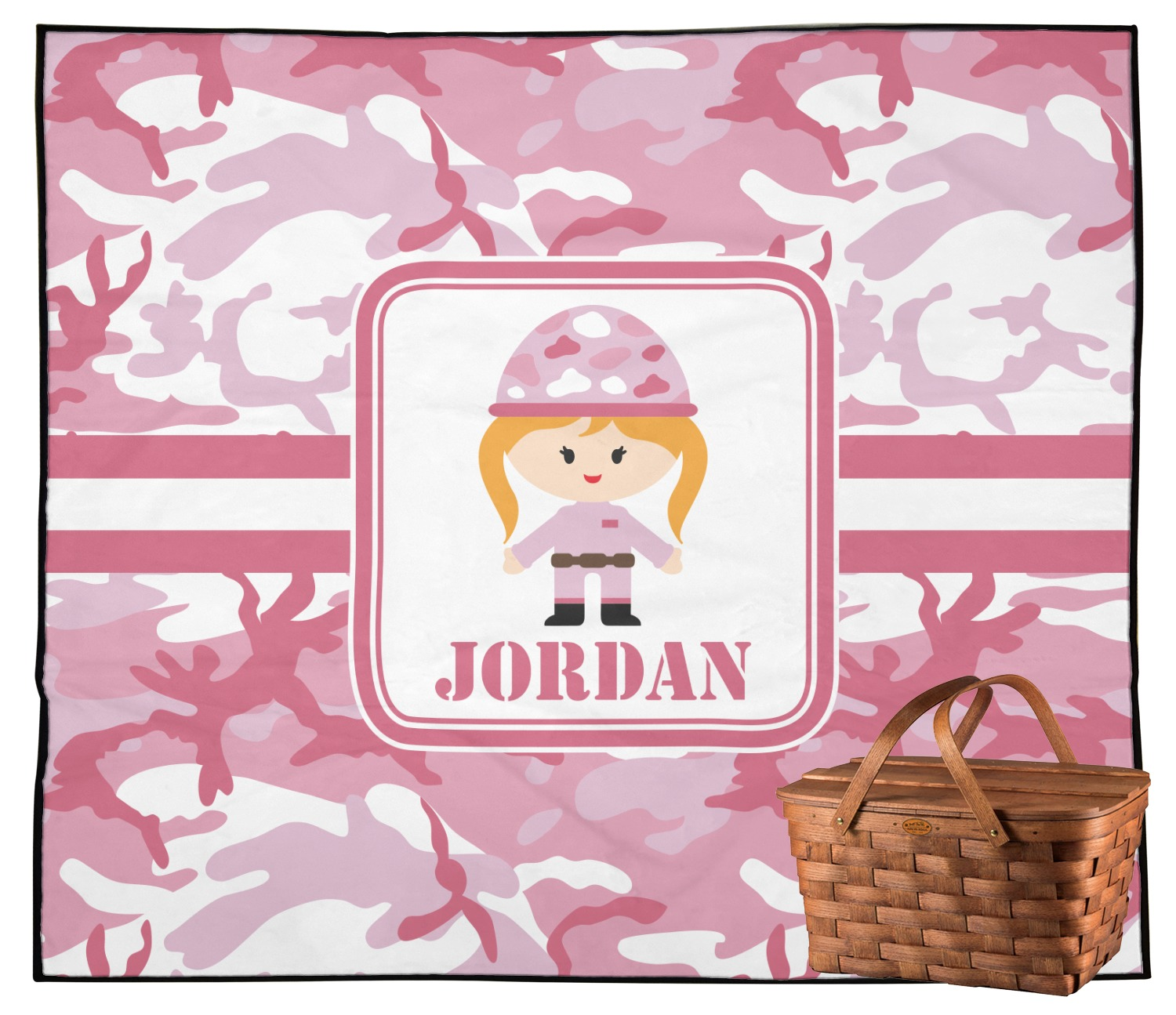 Pink Camo Outdoor Picnic Blanket (Personalized