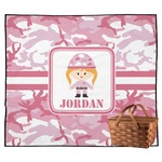 Pink Camo Outdoor Picnic Blanket (Personalized)