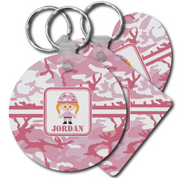 Pink Camo Plastic Keychains (Personalized)