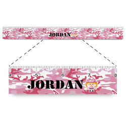 """Pink Camo Plastic Ruler - 12"""" (Personalized)"""