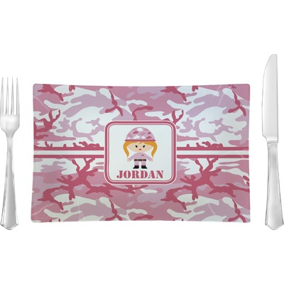 Pink Camo Rectangular Glass Lunch / Dinner Plate - Single or Set (Personalized)