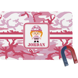Pink Camo Rectangular Fridge Magnet (Personalized)